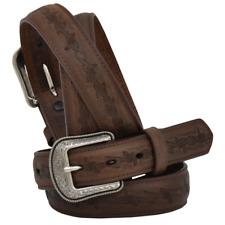 3D Belt Western Boys Kids Leather Distressed Barbed Tooled Brown 1202