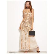 6552520b9783 Abito Vestito Lungo da Donna Sera Cerimonia Elegante Paillettes Strass Oro  Festa