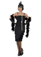 Womens 1920's Long Black Fringed Flapper Costume - 14,16,18,20,22,24,26 Plus