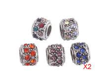10PCS Mixed Colors Rhinestone Charm Beads Fit European Bracelet #91856