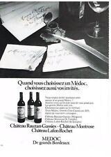 PUBLICITE  1973    MEDOC  vins CHATEAU RAUZAN-GASSIES MONTROSE & LAFON-ROCHET