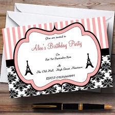 Parisian Paris Eiffel Tower Chic Theme Personalised Birthday Party Invitations