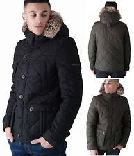 Duck and Cover De Piel Sintética Parka Chaqueta Para Hombre cálida con capucha Abrigo acolchado de invierno