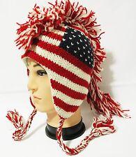 Team USA american flag Mohawk Hat beanie Pilot handmade 100% Wool Fleecelining