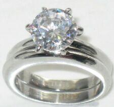 Wedding engagement ring set solitaire cz 2.50ct plain band 2 pieces silver 097