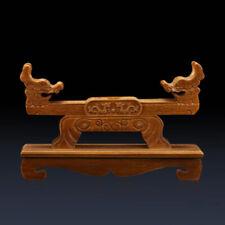Wood Samurai Sword Katana Tanto Holder Stand Display Rack Double Dragon Carved