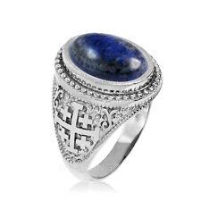 Sterling Silver Jerusalem Cross Lapis Lazuli Gemstone Ring