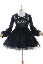 JSK-09-1 Black Devil Girl Velvet Heart Gothic Lolita Long sleeve dress Cosplay