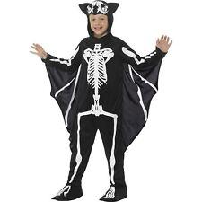 Black Bat Skeleton Hooded Bodysuit Kids Halloween Boys Child Fancy Dress Costume