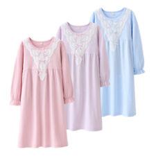 Girls Kids Pyjamas Long sleeve Nightwear Collar lace Cotton Night Dress Nightie