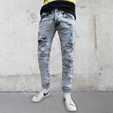 Pantalone Uomo Jeans Cinque Tasche Grigio Chiaro Rotture Denim Slavato Strappato