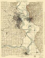 Topographical Map - Omaha Vicinity Nebraska, Iowa Quad - USGS 1898 - 17 x 22