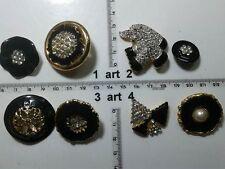 1 lotto bottoni gioiello strass smalti perle neri buttons boutons vintage g11