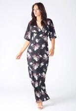 NEW Womens Ladies Black Floral Side Split Maxi Dress