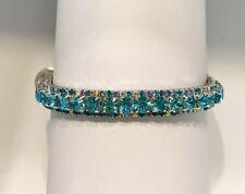 Aqua Crystal Bling Rhinestone Cat Safety Collar ~ Kitty On A Crescent Moon ~USA