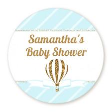 Gold Glitter Hot Air Ballon Boy - Round Personalized Baby Shower Sticker Labels