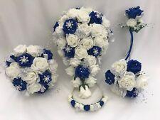 Royal blue,wedding bouquets, flowers, posy, buttonholes, brides, bridesmaid wand