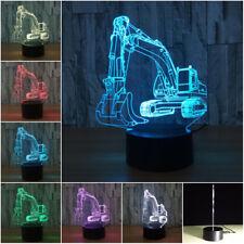 3D illusion Visual Excavator Digger Night Light 7 Colors Change LED Desk Lamp