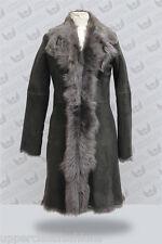 Mesdames Gris Femmes Véritable Toscana Veste en cuir de peau de mouton trench coat