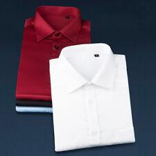 Luxury Men's Silk Cotton Long Sleeve Casual Slim Fit Soild Business Dress Shirts
