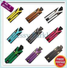 Adjustable Unisex Pants Suspenders 2.5CM Width 16 colors Fancy Dress Costume