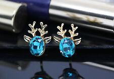 Rudolph the reindeer Christmas earring Blue crystal for head, lovely xmas design