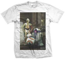 STAR WARS THE FORCE ERWACHT DREI DROIDEN OFFIZIELLES T - SHIRT BB-8 C3-PO R2-D2