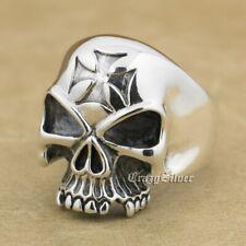 925 Sterling Silver Skull Cross Mens Biker Rocker Punk Ring 9Q023A US 7 to 13