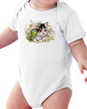 Infant creeper bodysuit One Piece t-shirt Cat In Flowers Kitty Kitten k-526