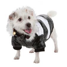 Striped Ultra-Plush Fashion Designer Pet Dog Coat Jacket Parka w/ Removable Hood