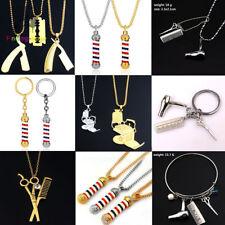Barber Shop Pole Razor Scissors Comb Rotating Light  Keychains Bracelet Necklace