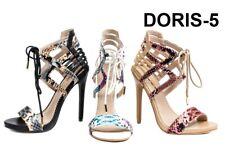 Holographic snakeskin heels Strappy Open Toe High Stilettos Heels Womens Sandals