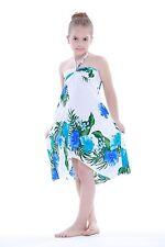 Aloha Butterfly Dress Girl Summer Beach Hawaiian Cruise Luau Floral White Blue