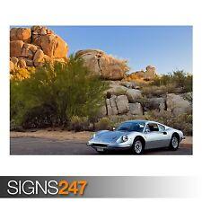 DINO 246GT WALLPAPER - 2008 (AA935) CLASSIC CAR POSTER - Photo Poster Print Art
