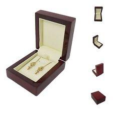 De luxe vrai bois acajou premium boucles d'oreilles bijoux boîte cadeau-mariage/fiançailles