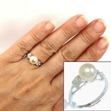 Hawaiian Jewelry14k Solid White Gold Plumeria AAA Pink Cultured Pearl Ring TPJ