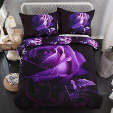 Rose Purple Floral Quilt Doona Duvet Cover Set Doulbe/Queen/King Size Bed Linen