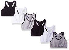 Fruit of the Loom Big Girls Cotton Built-up Sport Bra 6 Pack (Pack 6)