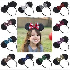 Kids Women/Girls Paillette Mickey Mouse Bow Ear Hair Hoop Festival Accessories