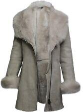 Brandslock Women Spanish Merino Genuine Shearling Sheepskin Leather Toscana Coat