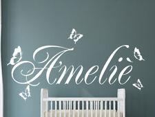 Wandtattoo AA118  mit Namen Kinderzimmer Mädchen Jungen Schmetterlinge