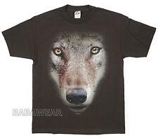 Wolf Big Face T-Shirt Brown Animal Print BABA