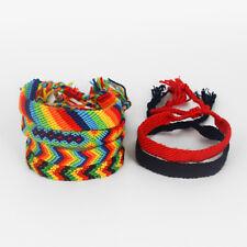 1/6pcs Rasta Macrame Knotted Cotton Woven Friendship Bracelet Boho Wristband