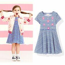 New Kate Spade Embellished Skater Dress Floral Striped blue white Girl 7 8 10 yr