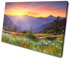 Sunset Seascape Pacific Ocean  SINGLE CANVAS WALL ART Picture Print VA