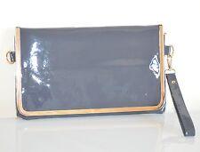 BORSELLO GRIGIO donna vernice pelle pvc oro borsa pochette borsetta da sera H1