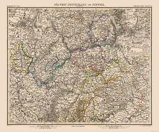 Old World Map - SW Germany, Switzerland - Stielers  1885 - 27.82 x 23