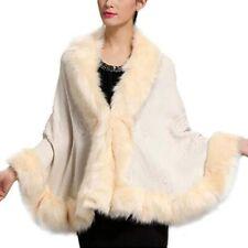 Women Ladies FAUX FUR PONCHO CAPE Weedding Bridal Trim Jacket Shawl Wrap Coat US