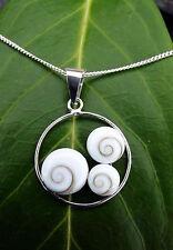 925 Silber Anhänger Shiva Auge Operculum 3 Augen im Kreis mit oder ohne Kette