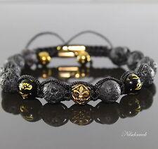 Herren Energie Glücksbinger Shamballa Tibet Mantra Lava Rock Onyx Armband Männer
